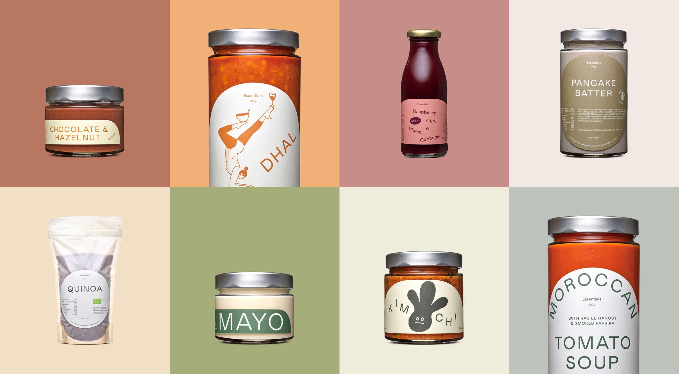 Frit valg til 'Essentials' hos Simple Feast – Få alt fra morgengrød til pandekage-mix, spreads, færdigretter, dressinger og juice! Alt leveres direkte til din dør
